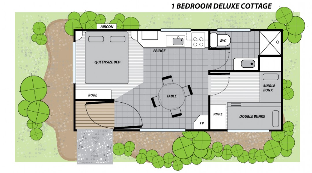 Melbourne BIG4 One Bedroom Cabin Sleeps 5 Floor Plan