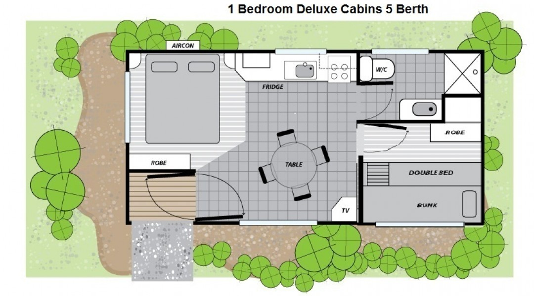 Melbourne BIG4 One Bedroom Deluxe Cabin Floor Plan