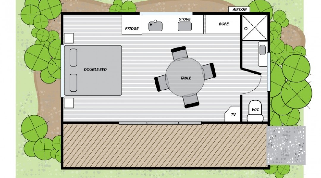 Melbourne BIG4 Studio Cabin Floor Plan